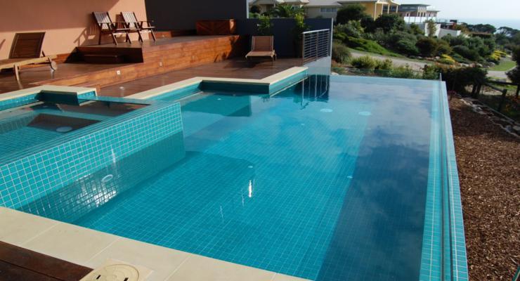 modern pools wooden terraces