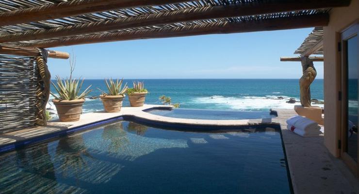 tropical style pergola pool