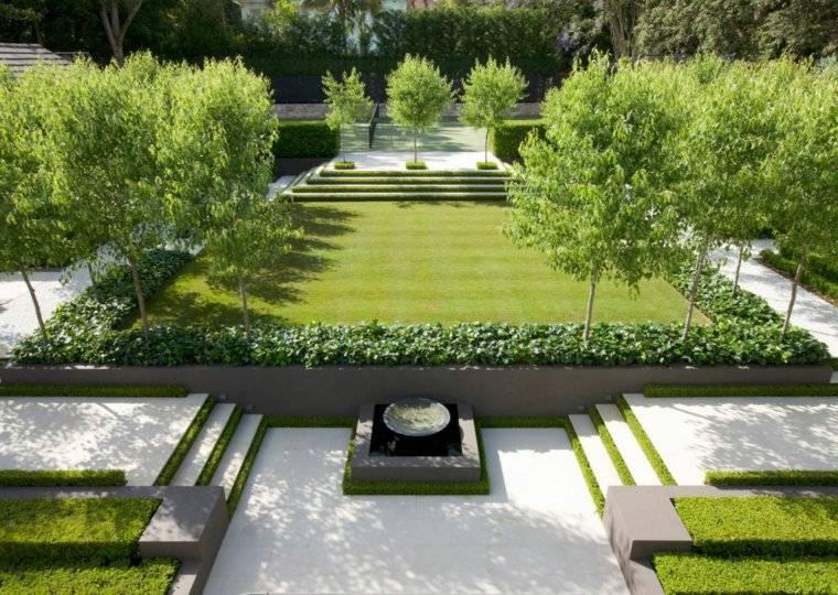 plano jardin clasico arboles cesped plato ideas