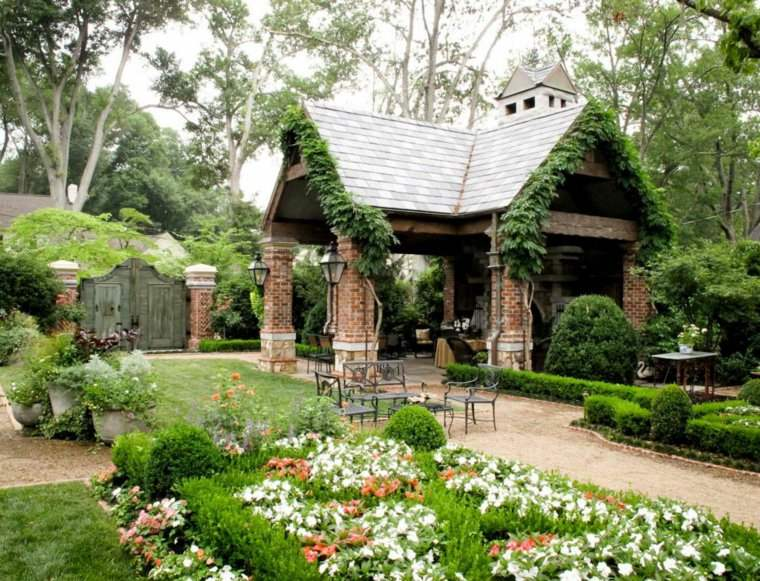plano jardin clasico caseta muebles acero ideas
