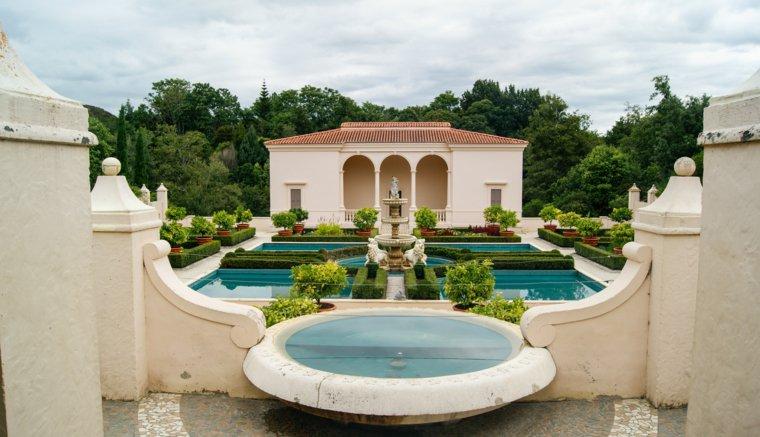 plano jardin clasico plantas fuente agua ideas