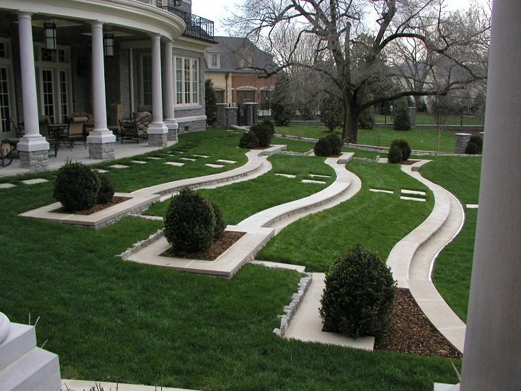 plano jardin clasico terrazas cesped ideas