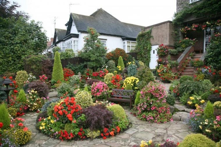 plantas flores banco jardin delantero casa ideas