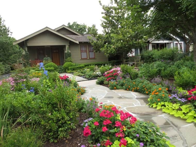 plantas y flores camino jardin