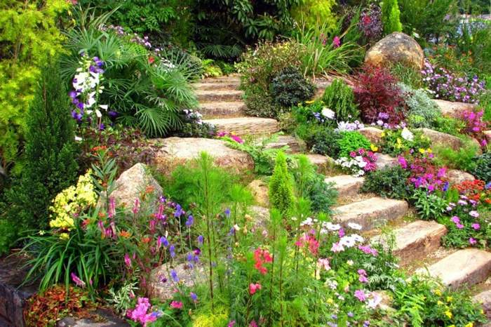 primavera jardines conceptos colores escaleras