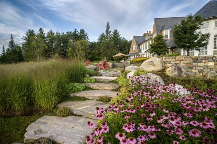 primavera jardines conceptos escaleras rocas