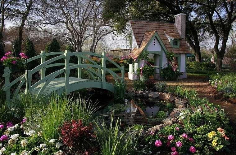 puentes jardín color verde