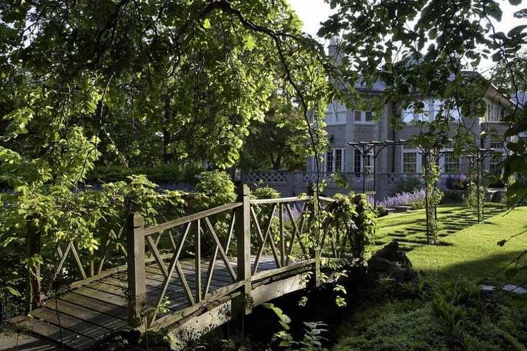 puentes madera para jardines modernos