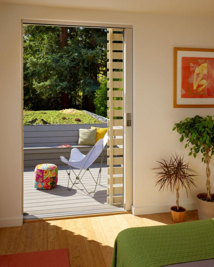 puerta balcon taburete colorido opciones simples ideas