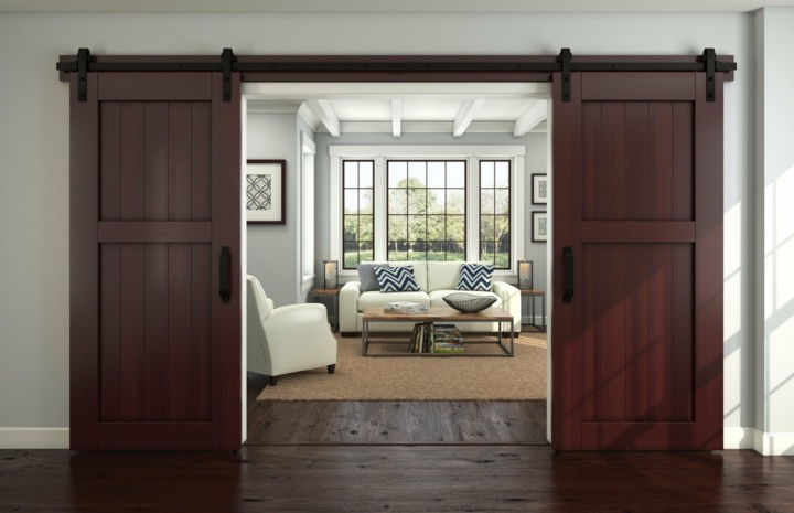 puertas correderas diseo estilo paredes vecas marrones - Tipos De Puertas Correderas