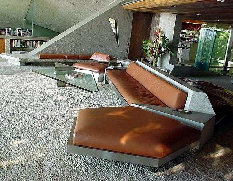 residencia colina hormigon cuero salon ideas