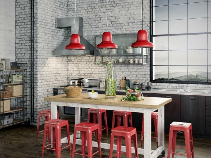 rojos ladrillos lamparas colores banquetas