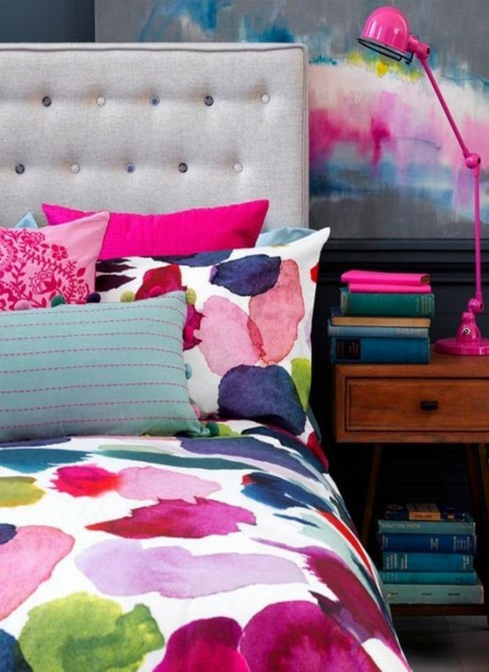 ropa cama colorida cuadro a juego ideas