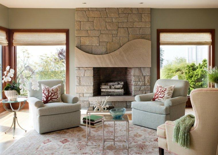 Ideas para decorar la sala de estar en primavera - Decoracion para chimeneas de lena ...