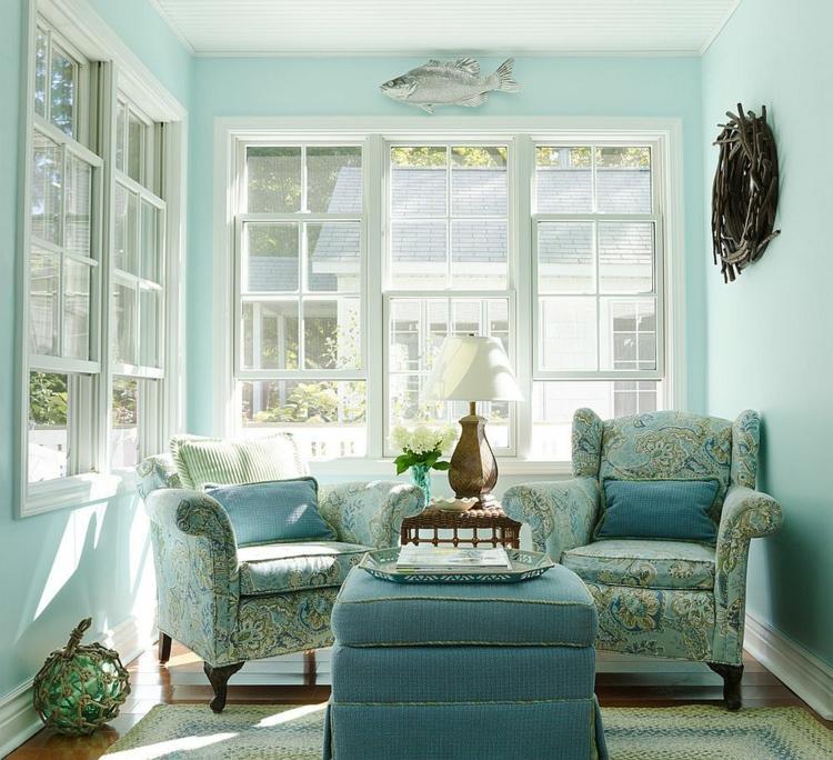 sala estar de color celeste