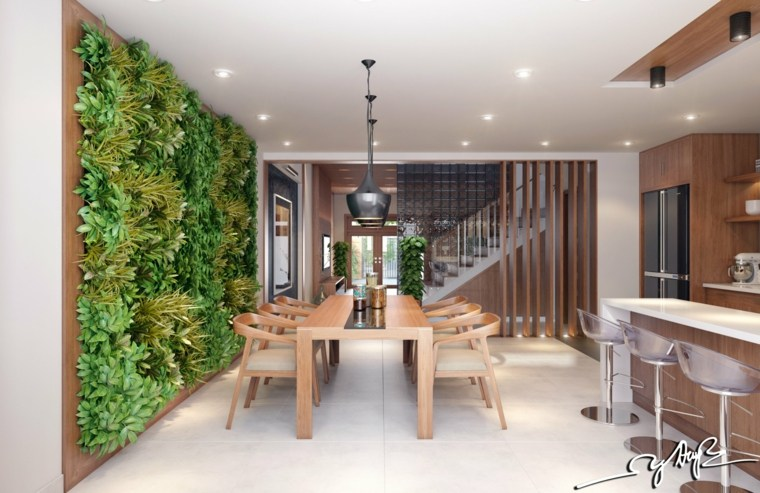 salón comedor jardín vertical