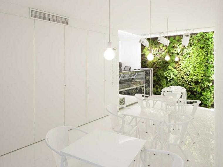 salon comedor color blanco plantas
