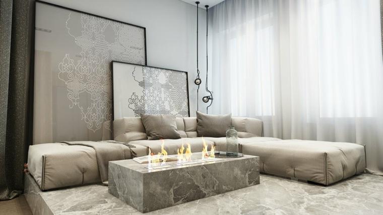 salon diseno unico lujosos mesa marmol ideas