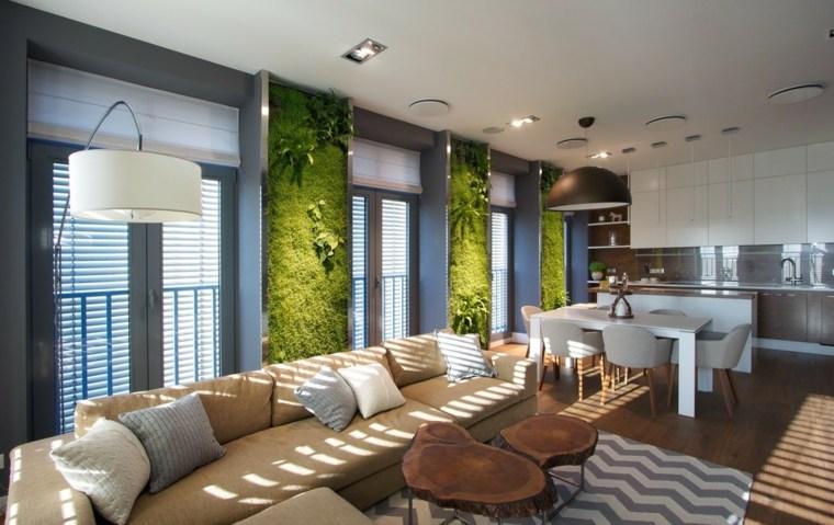 salón moderno paredes verdes