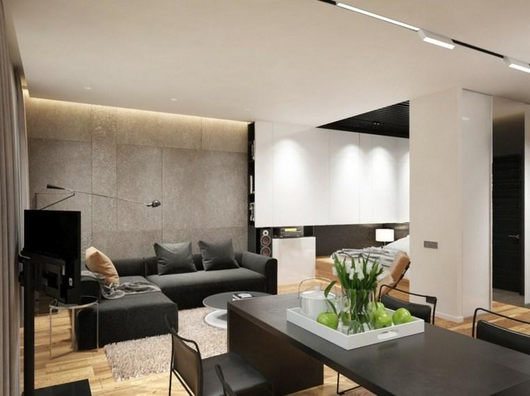 Iluminacion salon comedor saln con dos lmparas de - Iluminacion salon moderno ...