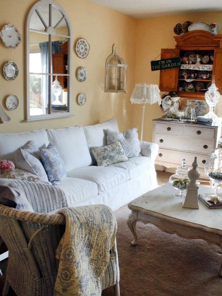 shabby chic salones controles muebles ventanas