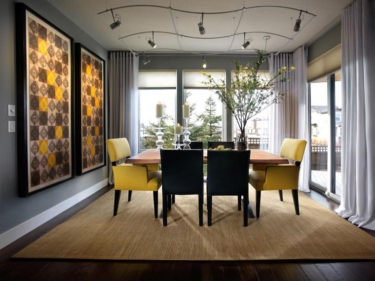 sillas negro amarillo iluminacion led opciones interiores ideas