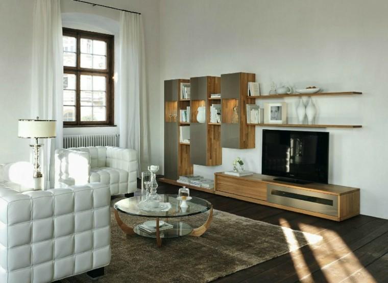 sillones blancos muebles madera salon ideas