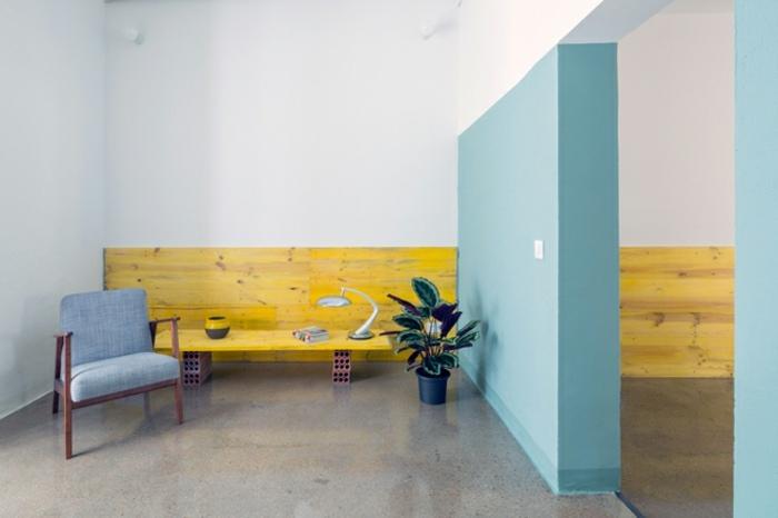 sala estar celeste amarillo