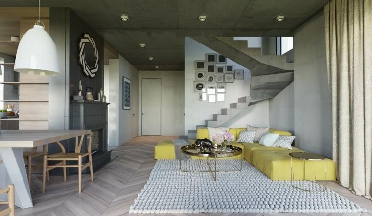 sofa amarilla salon color gris alfombra ideas