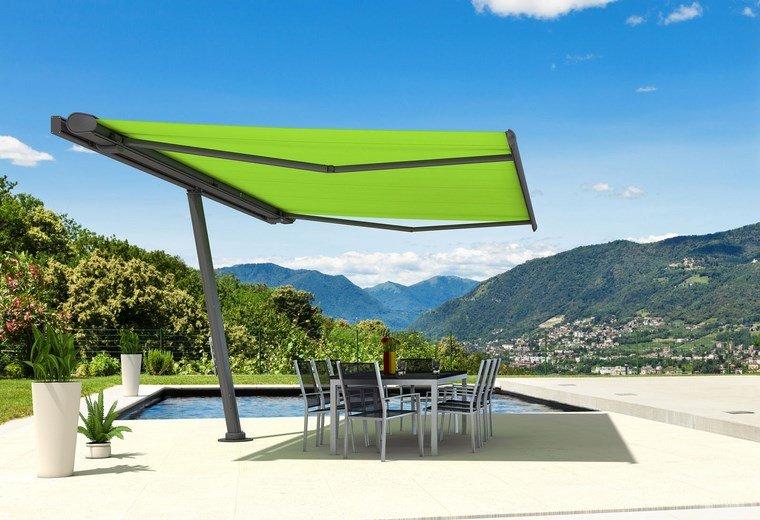 sol y sombra aire libre opciones toldo verde ideas