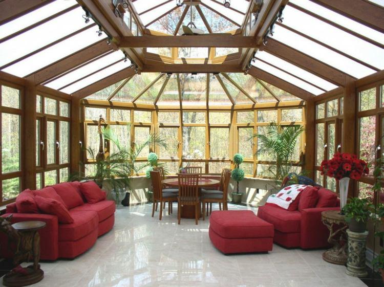 solarium decorado muebles rojos
