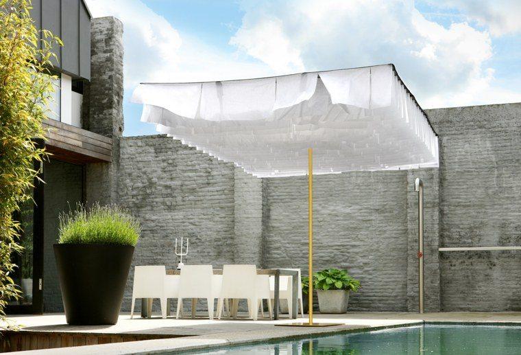 sombrilla diseno moderno jardin amplio ideas