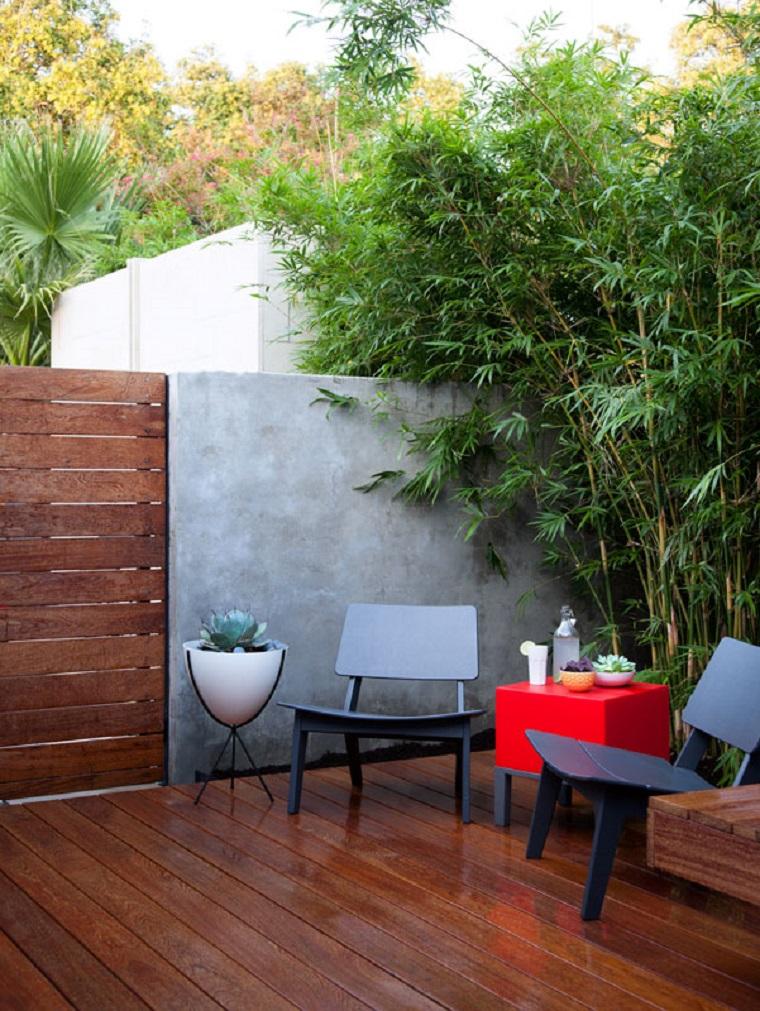 suelo madera bambu sillas preciosas jardin ideas