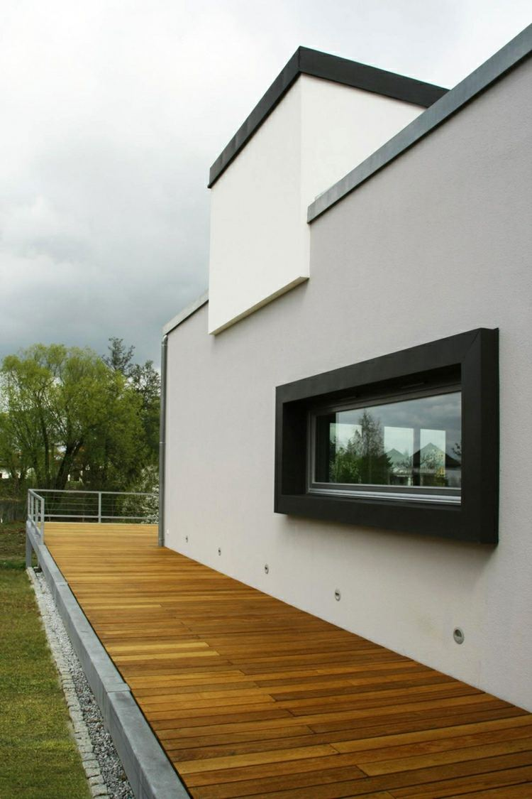 suelo madera terraza arquitectura moderna ideas