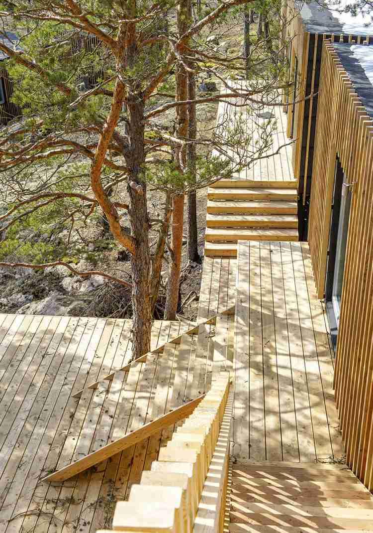 suelo madera terraza casa escalera ideas
