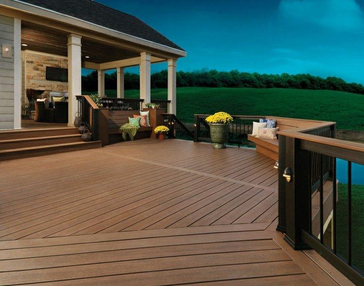 suelo madera terraza espacios amplios ideas
