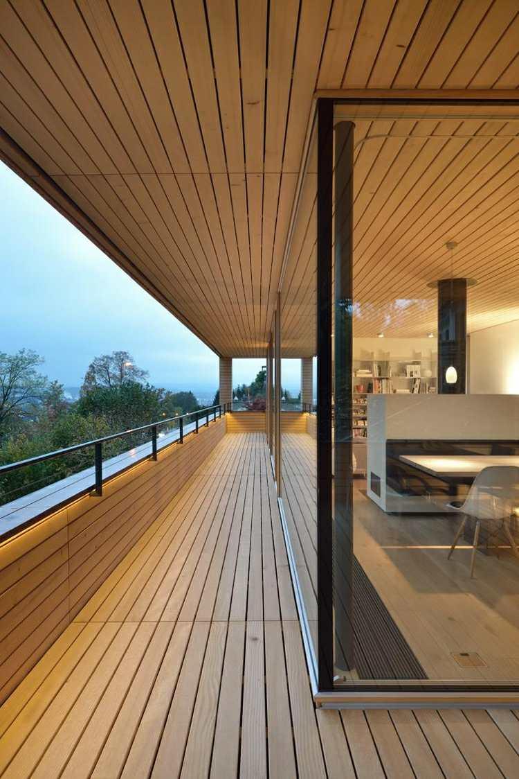 suelo madera terraza estrecha casa moderna ideas