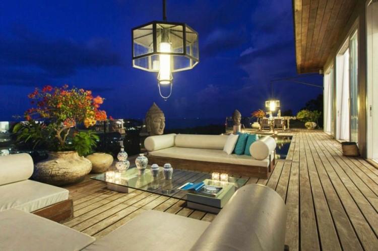 suelo madera terraza iluminada noche ideas
