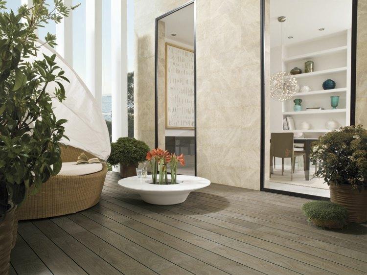 suelo madera terraza maceta blanca ideas