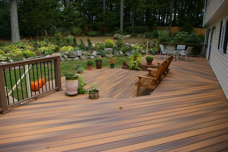suelo madera terraza moderna abre jardin plantas