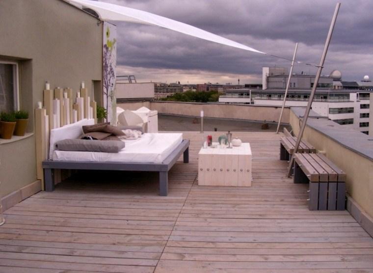 suelo madera terraza moderna cama preciosa ideas
