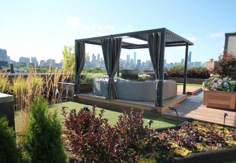 suelo madera terraza moderna cesped ideas
