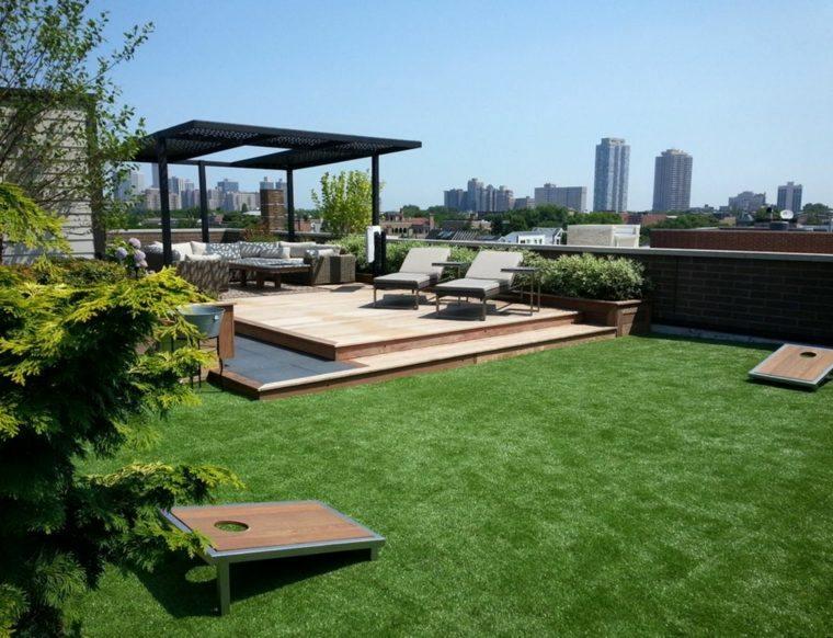 suelo madera terraza moderna jardin cesped ideas
