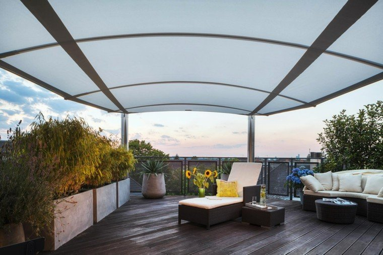 suelo madera terraza moderna macetas grandes ideas