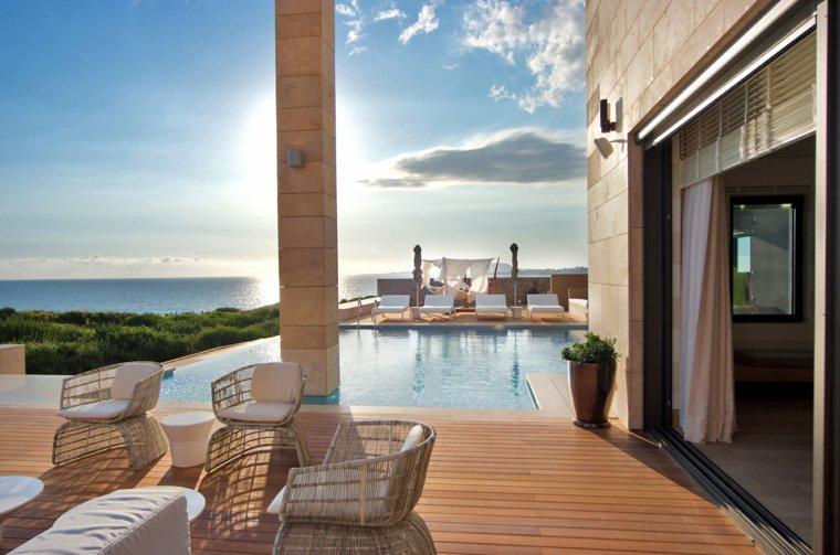 suelo madera terraza moderna muebles piscina ideas