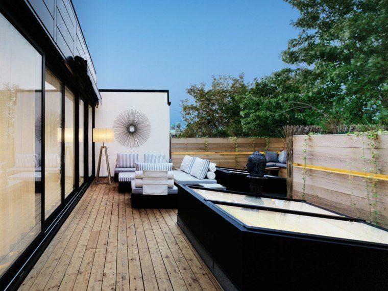 suelo madera terraza moderna opciones espacios estrechos ideas