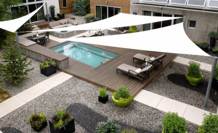 suelo madera terraza moderna pergola blanca ideas