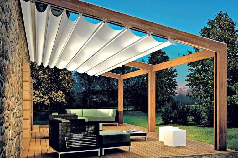 suelo madera terraza moderna pergola madera modernas ideas