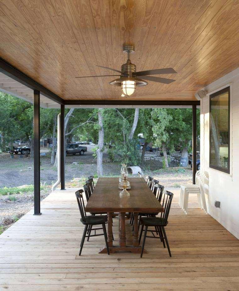 suelo madera terraza moderna protegida sol ideas