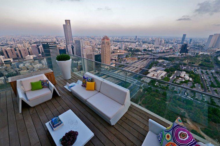 suelo madera terraza moderna techo ideas